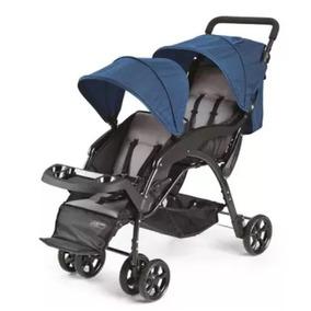 Carrinho Bebe Duplo Gêmeos Azul Passeio Multikids Baby Bb530