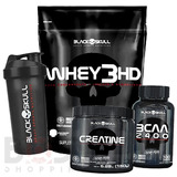 Whey 3hd 837g + Bcaa + Creatina 150g + Shaker - Black Skull