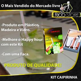 51eb6dac5d909 Limão Kit Conjunto Caipirinha 5 Peças Madeira Copo Caipira