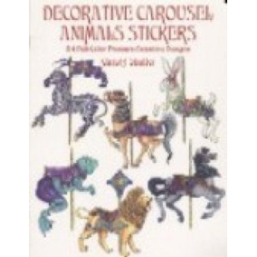 Decorative Carousel Animals Stickers - 24 Full-color Pressur
