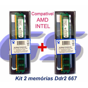 Kit 2 Memória Kingston Ddr2 2gb 667 Mhz Pc2 4gb Dual Chip