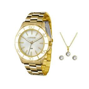 2bf963bad7908 Relógio Lince Feminino Social + Brinco Dourado Folheado - Joias e ...