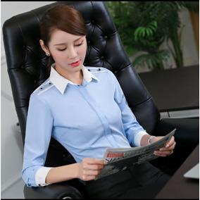 Blusa Elegante Slim Fit Color Azul, Para Dama