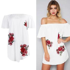 e84f7379b7 Blusa Mini Vestido Playa Blanco Encaje Flores Talla S Nuevo