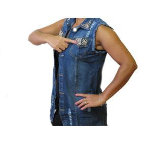 b6f3a9b7f0767 Kit Com 2 Colete Jeans Maxi Feminino Com Perola P M G Gg