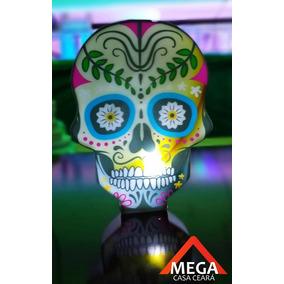 Luminaria Abajur Caveira Mexicana Decoração Led Bateria - Am