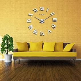 Relógio Grande De Parede Números Romanos 3d Luxo Espelhado