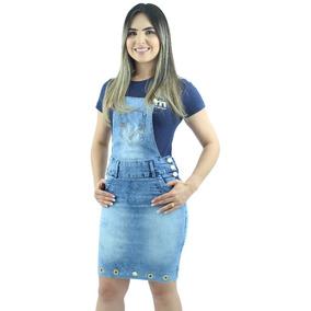 5f4bb12af Macacão Jardineira Saia Jeans Modelo Tubinho Lançamento