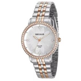 Relógio Seculus Feminino Ref: 28930lpsvga2 Fashion Bicolor