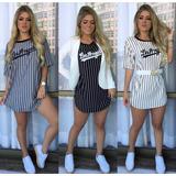 Blusão Feminino Vestido Curto Los Angeles Listrada Tam Único d590d13ba1268