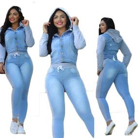 Conjunto Jeans Feminino Calça E Jaqueta Com Moletom Barato