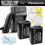 Pack 2 Pilas Y Cargador Kit Para Panasonic Lumix Dmc-fz70,
