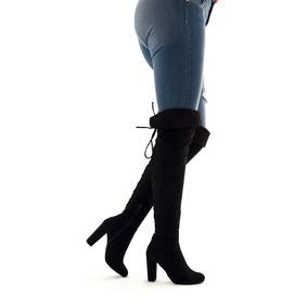 Botas Largas Mujer Tacon 10 Altas Doblez Rodilla 2070 Negro