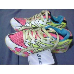 27c5713e10 Tenis Asics Noosa Tri 6 Rosa E Verde Nº34 Original Na Caixa