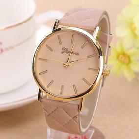 ab03098047e Relógio Feminino Dourado Geneva Pulseira De Couro Trançado