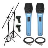 2 Microfonos Dinamicos + 2 Pies + 2 Pipetas + 2 Cables Envio