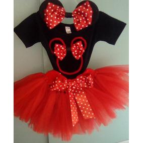 Disfraz Minnie Mouse Tutú, Pantiblusa Y Orejas Rojo Y Negro