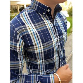 Camisa Slim Fit Marino De Cuadros Para Hombre