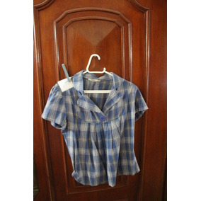 = Roupa Lote 630 Mulher Camisa Social Curta 42 Marisa Azul Q