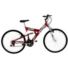 Bicicleta Aro 26 Full Suspension 18v Kanguru - Vermelha