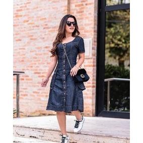 Vestido Jeans Evangélico Botões Modelo Midi