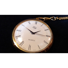 Reloj De Bolsillo Suizo De Cuarzo Con Leontina