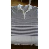 Camisa Polo Lacoste Listrada De Branco E Cinza. Manga Curta. 4dec6d21a3