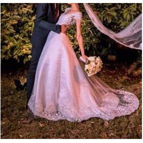 Vestido De Noiva Branco Princesa Renda Tule Manga Curta