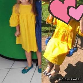 Vestido Niña 5 A 6 Años Mostaza Amarillo Usado