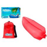 Saco Dormir Sofá Inflável Camping Praia Bag Chair Vermelho
