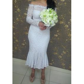 Vestido De Noiva Mid Para Casamento Civil Com Renda