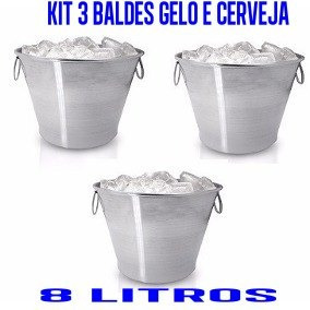 Kit 3 Baldes Cerveja E Gelo 8 Litros Reforçado Aluminio Puro a64a369f828bc