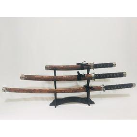 Espada Samurai Katana Ninja Kit Tres Conjunto Decorativas