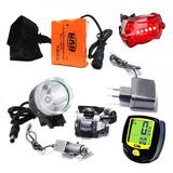 Lanterna Led T6 Farol Bike Cabeça 8hs + Velocimetro + Alerta