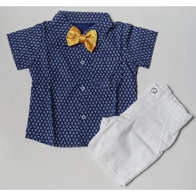 Conjunto Bebê - Camisa Ancora + Gravata + Bermuda Branca (g 4e0c3efaeff