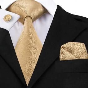 B532 Seda | Corbata Pañuelo Mancuernillas | Dorada Arenosa