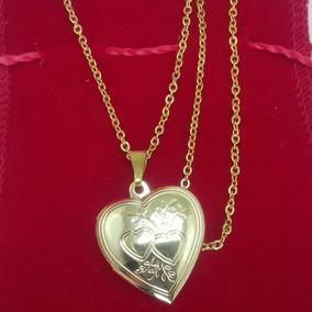 Relicário Folheado A Ouro Formato De Coração Barato