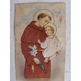 Antigo Cartão Postal De Santo Antonio Em Fios De Seda