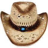 Sencillez Estilo Occidental Vaquero Sombrero De Paja Cuero B e01c3360c98