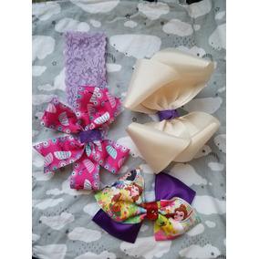 Paquete De 3 Accesorios Moños Y Banditas Cabello Princesas