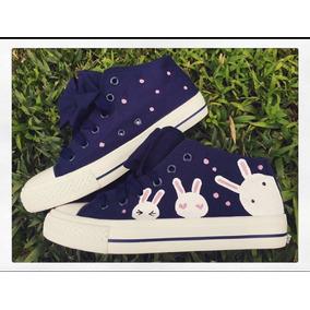 Tenis Azules Con Moño Pintados A Mano Conejos Para Dama