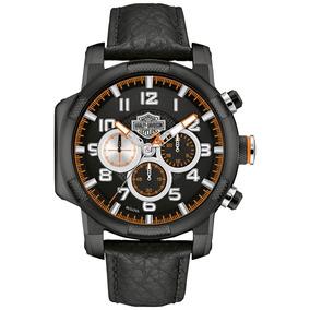 Relógio Harley-davidson Pulseira Em Couro. Modelo 78b139
