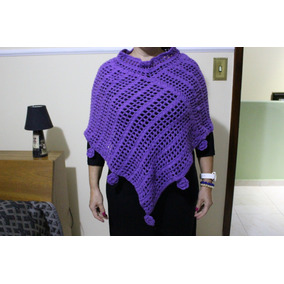 Poncho Xale Croche Feminino - Usado