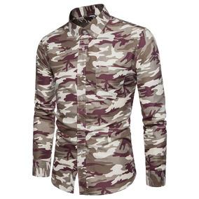 Camisa Manga Larga De Moda Estampado Camuflado Para Hombre
