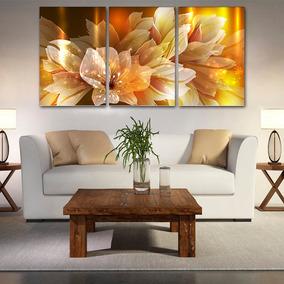 Quadro 60x120cm Lírios Digitais Abstrato Decorativo Interior