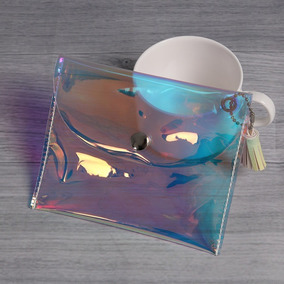 Monedero Holografico Tornasol Kawai Mujer Niña Cartera Bolsa