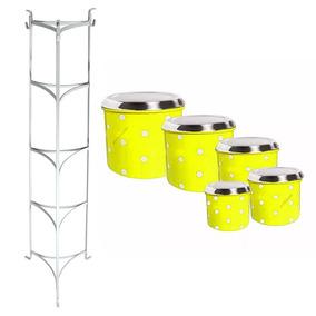 c597df1a3d Jogo Lata Aluminio Mantimento Conjunto Pote Amarelo C - Cozinha no ...