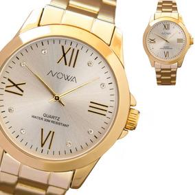 Relógio Feminino Dourado Nowa Com Strass Nw1017k