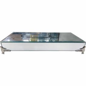 Bandeja De Vidro Decorativa Espelho Grande Com Pé Prata 15cm
