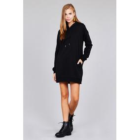 Moda Sweter Importado Largo Tipo Vestido -capucha Y Bolsilos